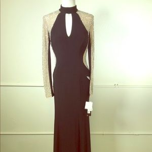 Xscape Caviar Bead Embellished Long Sleeve Gown